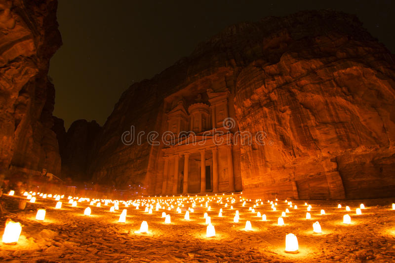 The Treasury at night. Al Khazneh in the ancient Jordanian city of Petra, Jordan at night. Known as The Treasury and a UNESCO World Heritage Site royalty free stock images