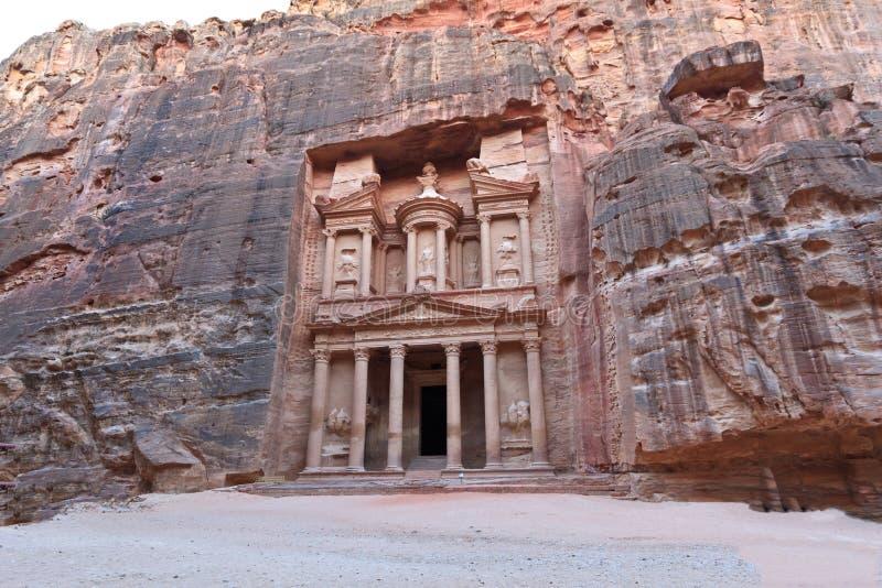 Treasury in Petra, Jordan. Facade of the Treasury in Petra, Jordan royalty free stock photos