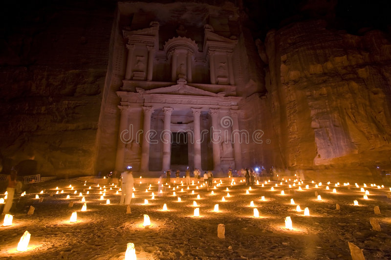 The Treasury at Petra Jordan lit at night stock image