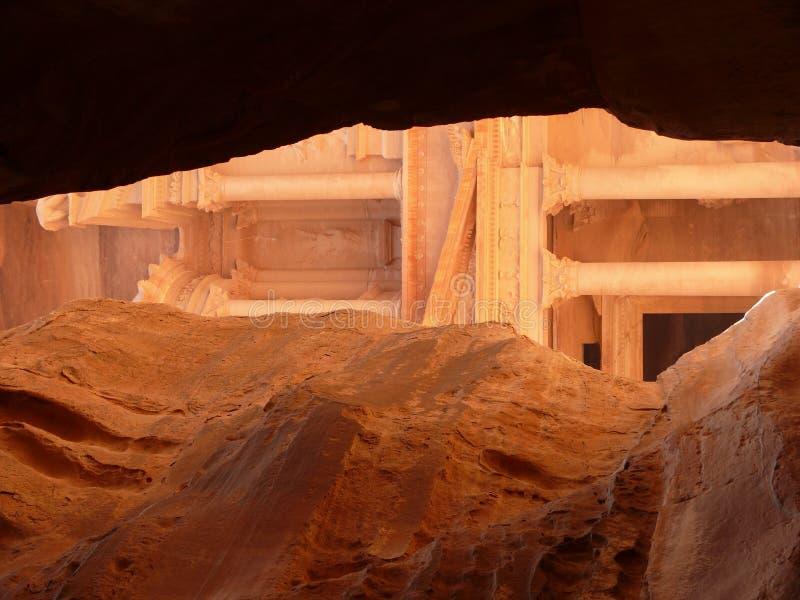 Treasury, Siq, Petra, Jordan. Treasury, Al-Khazneh, view from Siq, Petra, Jordan royalty free stock image