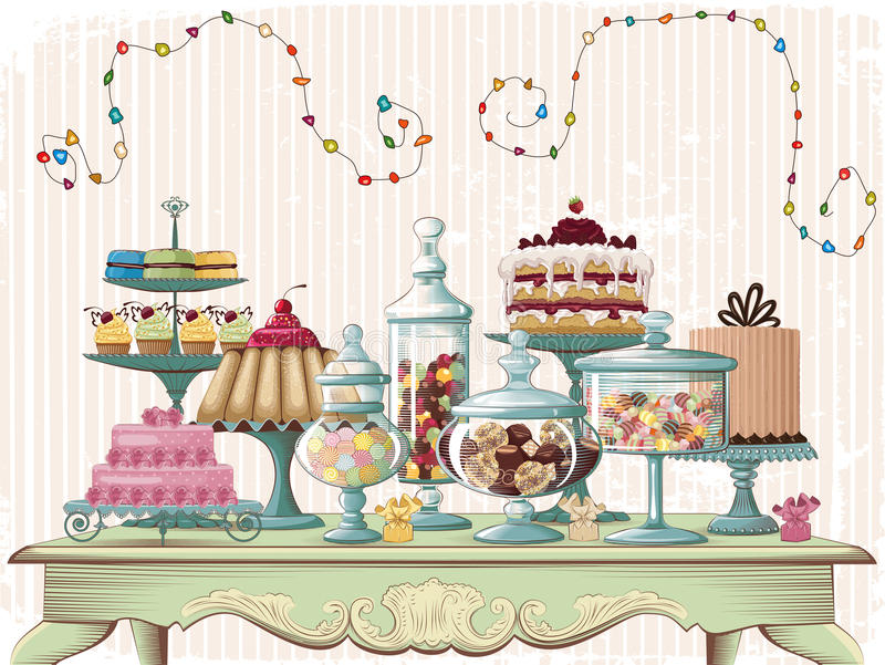 Treat. Vector illustration of different cakes and glass jars with candies set on the old-fashioned table