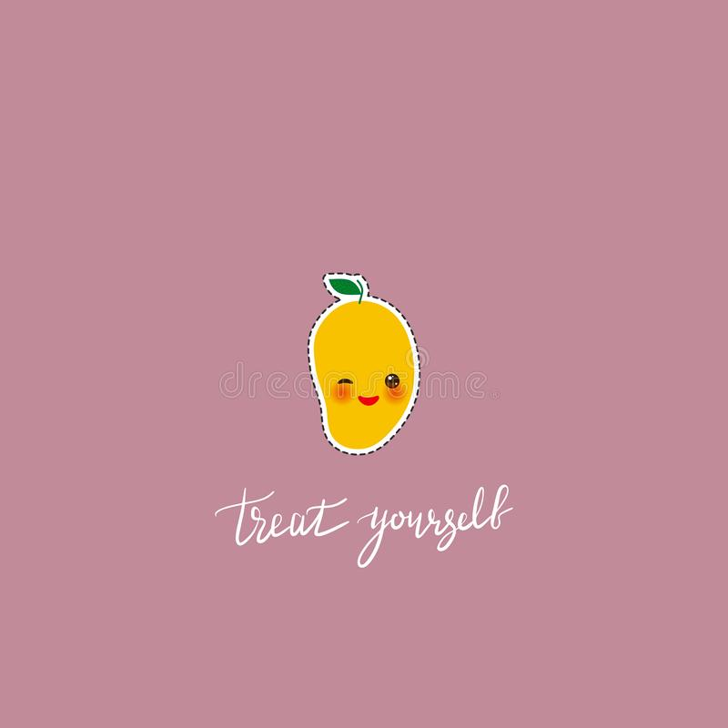 Treat yourself. Card banner template. Hand drawn calligraphy. Kawaii mango fruit with sunglasses and eyes, on rosybrown pink stock illustration