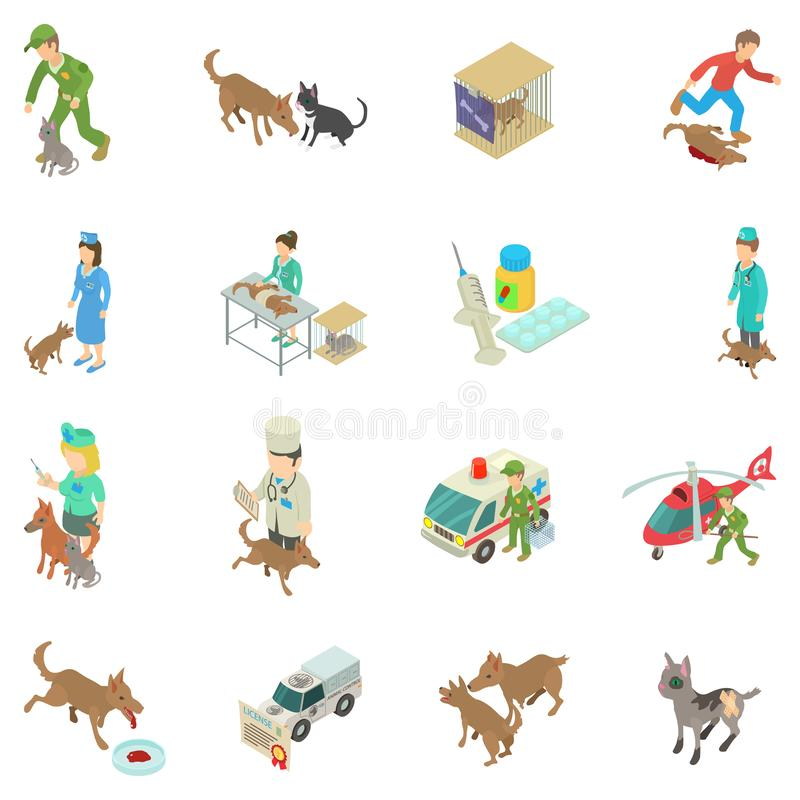 Treatment of animal icons set, isometric style. Treatment of animal icons set. Isometric set of 16 treatment of animal vector icons for web isolated on white vector illustration