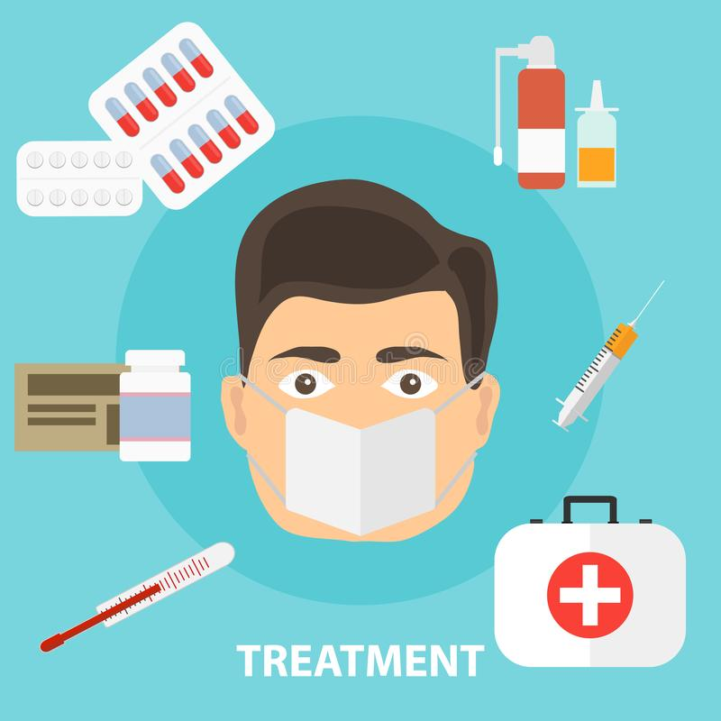 Treatment of the disease, the concept of treating the patient. Medicated treatment. Flat design, illustration royalty free illustration