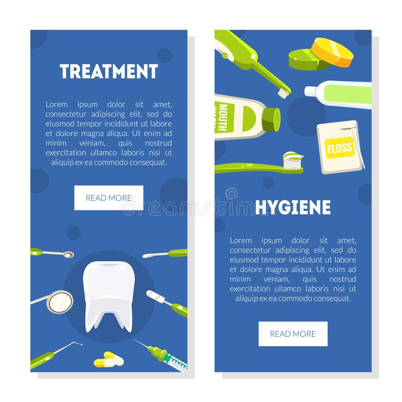 Treatment, Hygiene Vertical Banners Templates Set, Dentist Tools and Equipment, Dental Clinic Service, Mobile Website royalty free illustration