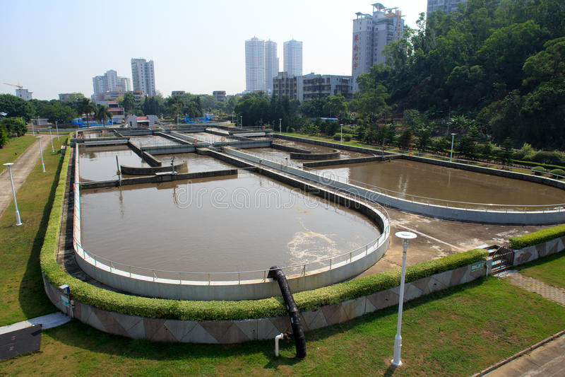 Treatment Plant. Sewage treatment plant factory in China stock image