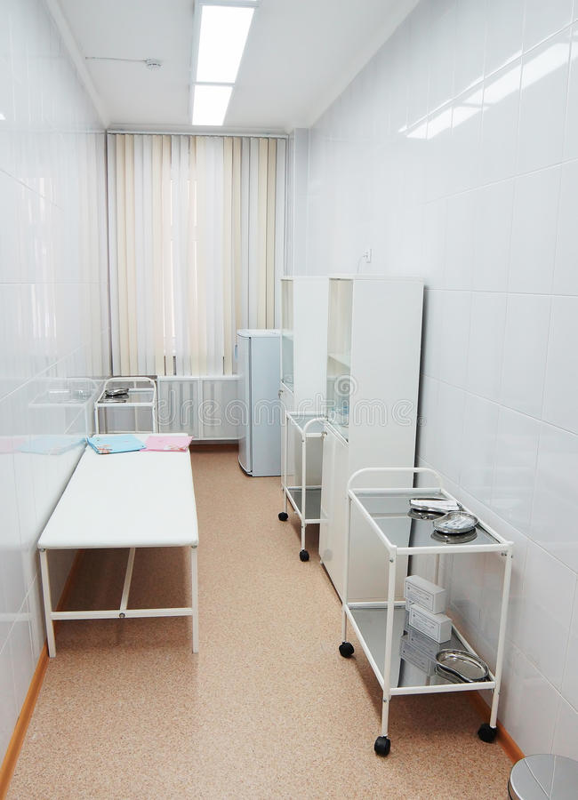 Treatment room in a pediatric clinic stock images
