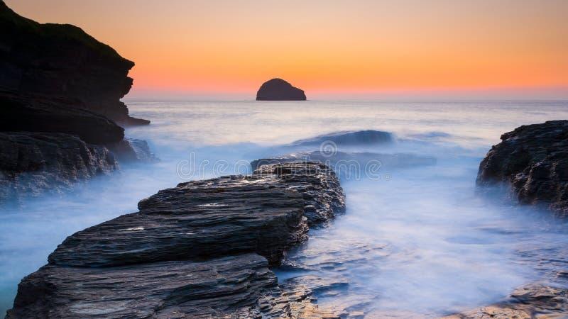 Trebarwith-Strang Cornwall England lizenzfreie stockbilder