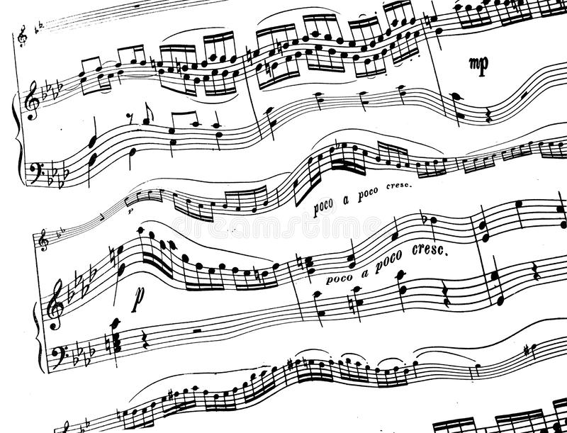 Treble and bass clef with melody notes on white background. Eighth sixteenth and a quarter of the violin bass keys on a wavy stave stock photo