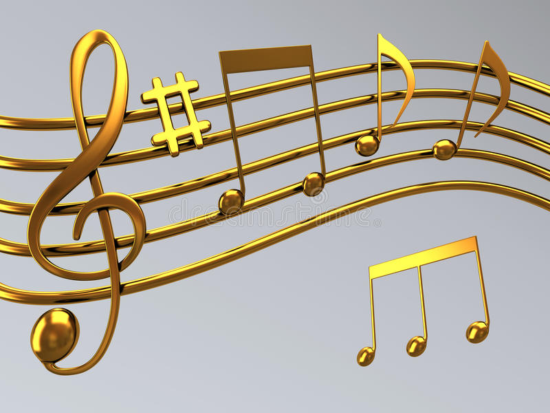 Treble clef. Illustration of gold musical notes and a treble clef symbol vector illustration