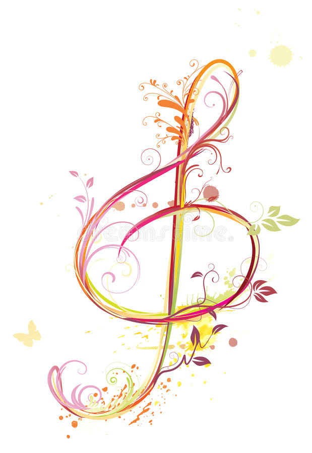 Treble clef. Vector illustration of floral music abstract background with Treble clef royalty free illustration