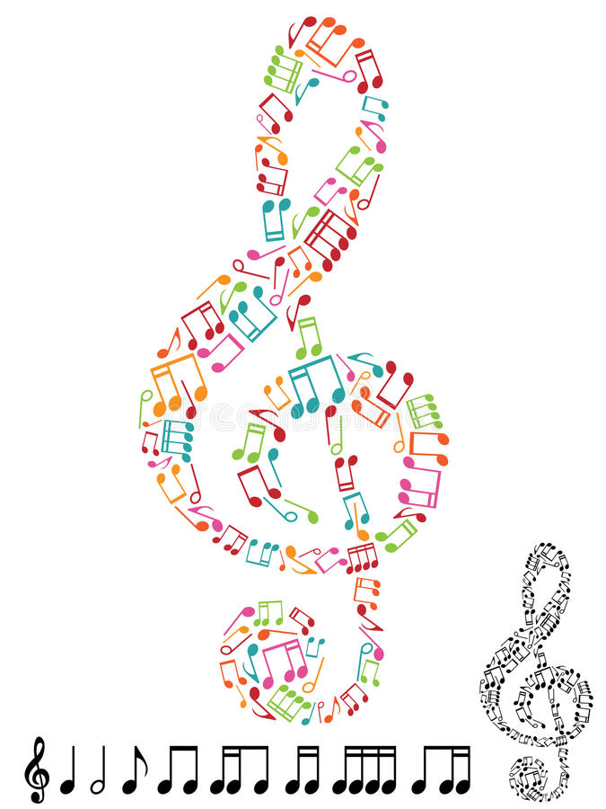 Treble clef. Made from musical notes isolated on white royalty free illustration