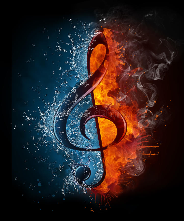 Treble Clef. In Fiere and Water isolated on Black Background stock illustration