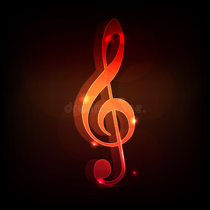 Treble clef. 3d neon treble clef on a dark background vector illustration