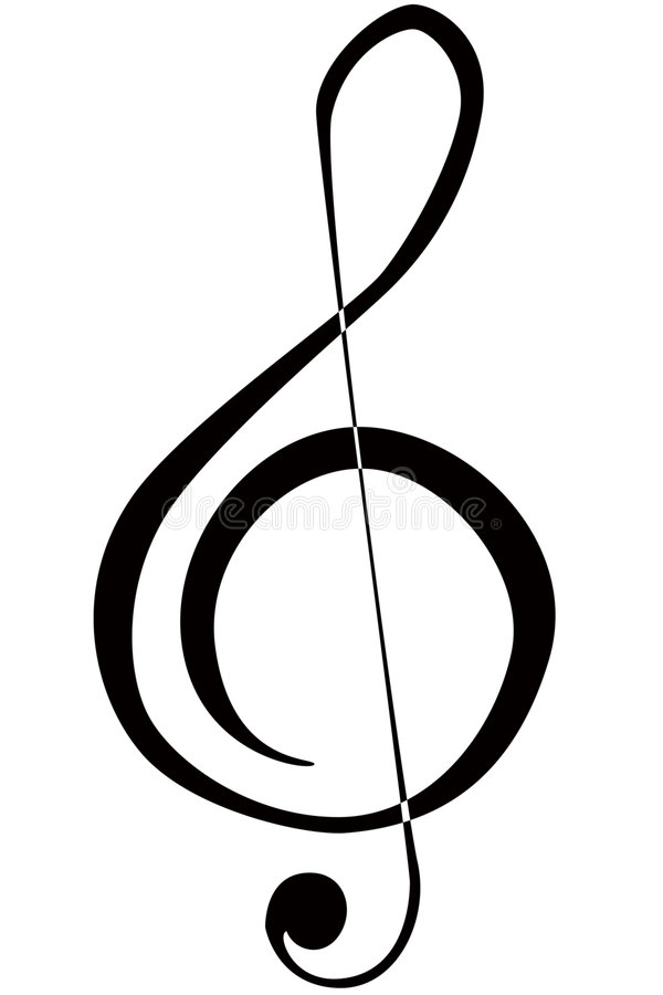 Treble Clef. An illustration of a musical treble clef symbol stock illustration
