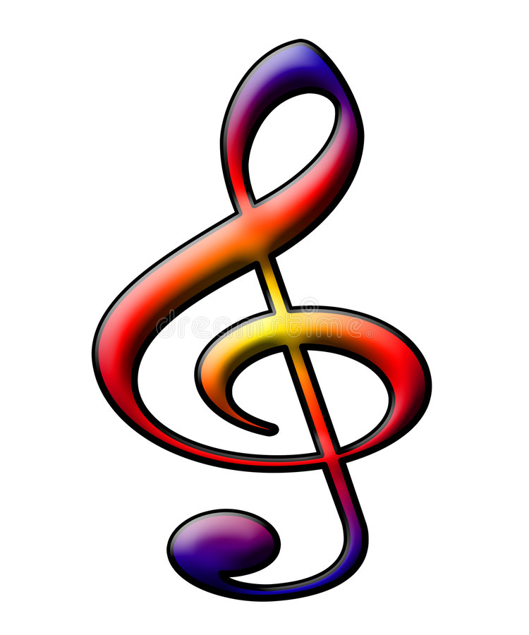 Treble clef. Symbol isolated with funny texture on white stock illustration