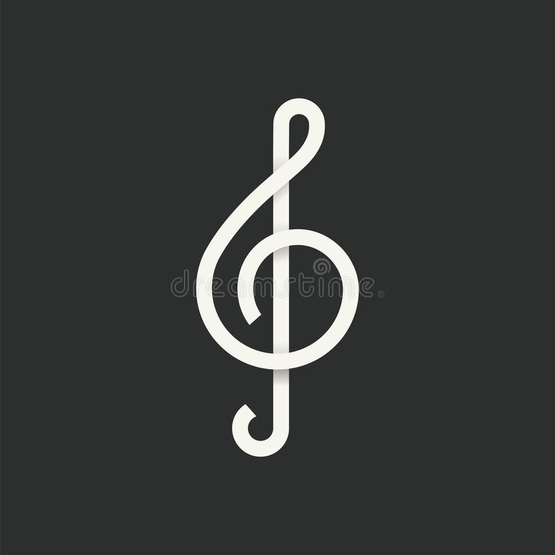 Treble Clef Abstract Vector Symbol Icon. With Shadows stock illustration