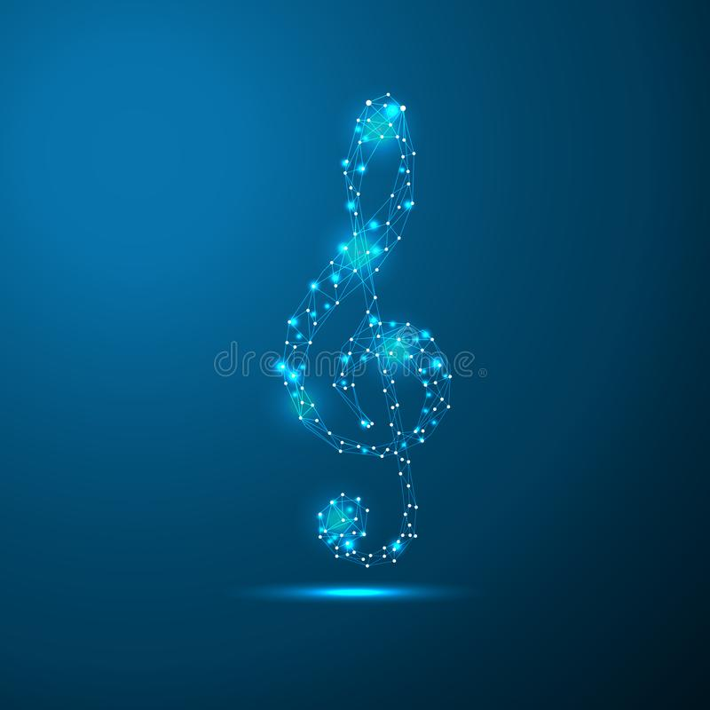Treble clef connecting dots and lines. Thin line concept. Blue glow color background vector icon illustration.  royalty free illustration