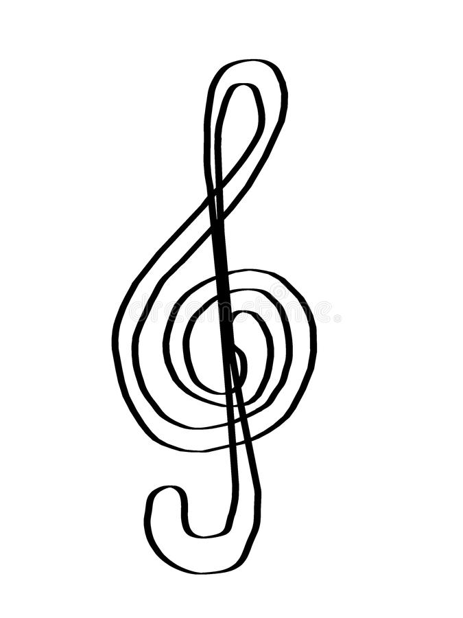 Treble clef czarny i biały zdjęcie stock