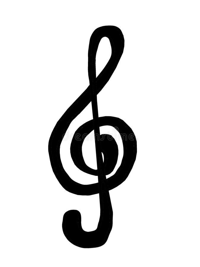 Treble clef czarny i biały 2 fotografia royalty free