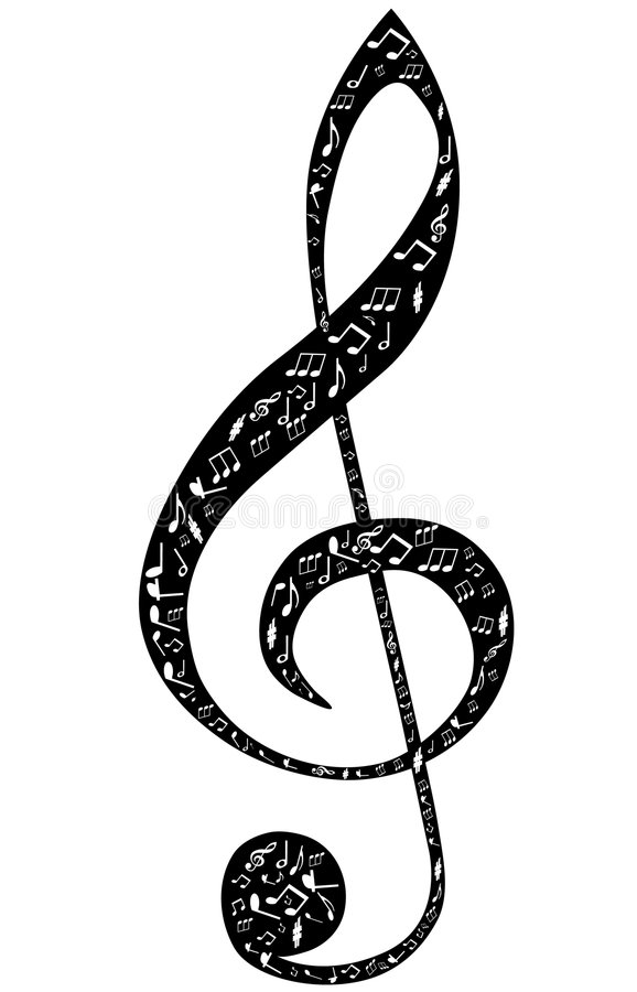 Download Treble Clef Design By Musical Notes Stock Vector - Image: 7694387