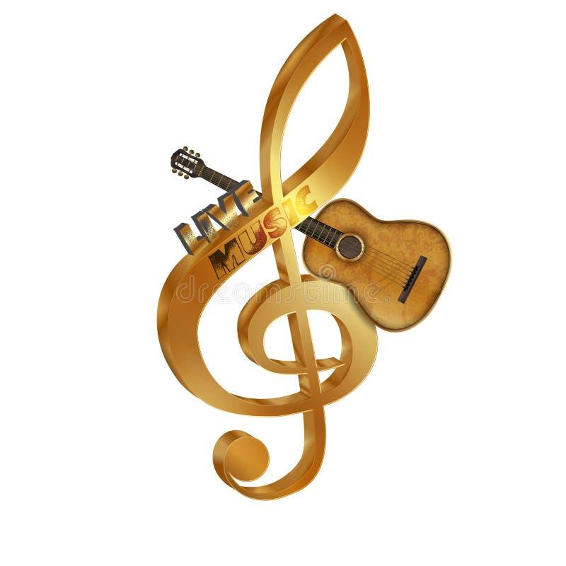 Treble clef gitara akustyczna zdjęcie stock
