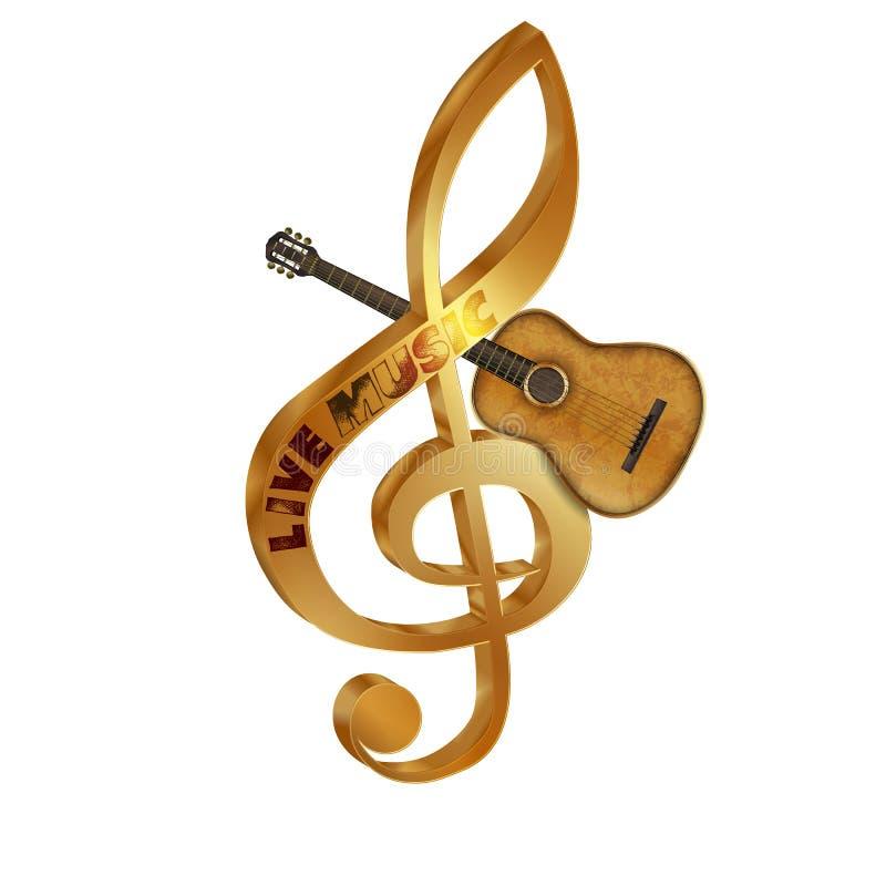 Treble clef gitara akustyczna fotografia stock