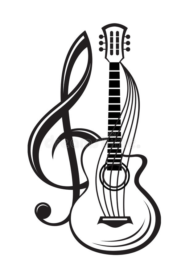 Treble clef and guitar. Monochrome illustration of treble clef and guitar stock illustration