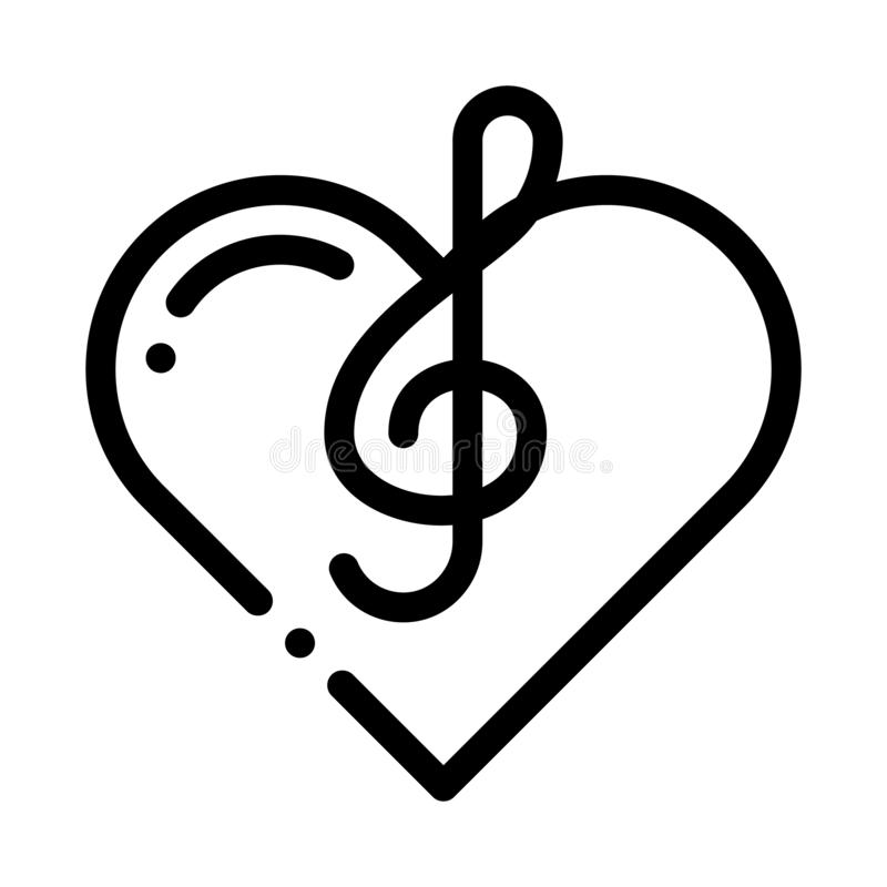 Treble Clef And Heart Song Element Vector Icon. Thin Line. Treble Clef And Headphones, Concert, Opera And Singing In Karaoke Concept Linear Pictogram vector illustration