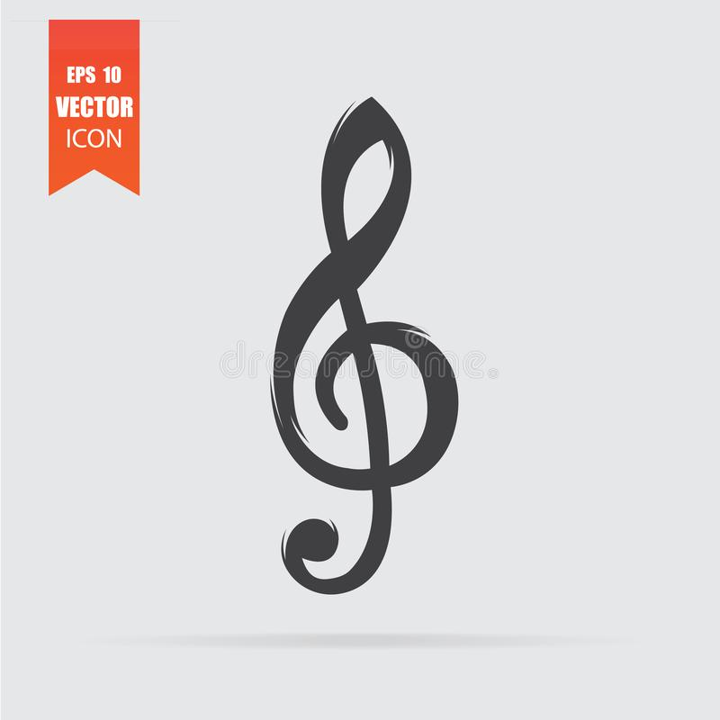 Treble clef icon in flat style isolated on grey background. For your design, logo. Vector illustration vector illustration