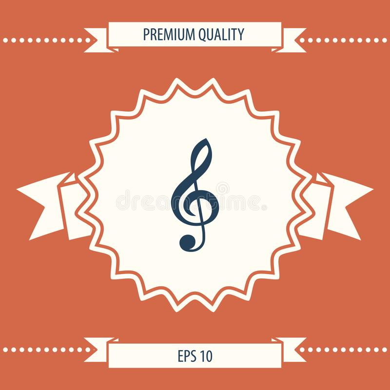 Treble clef icon. Signs and symbols - graphic elements for your design stock illustration