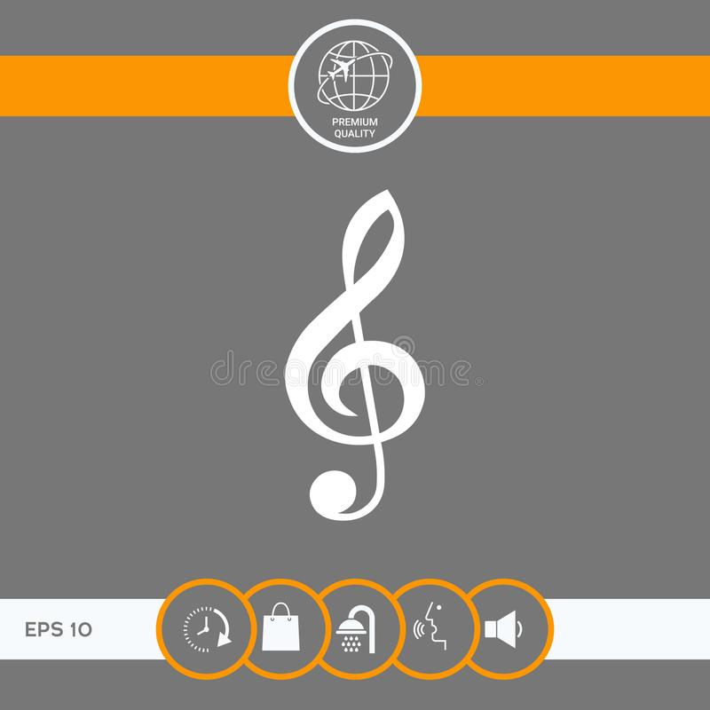 Treble clef icon. Signs and symbols - graphic elements for your design royalty free illustration