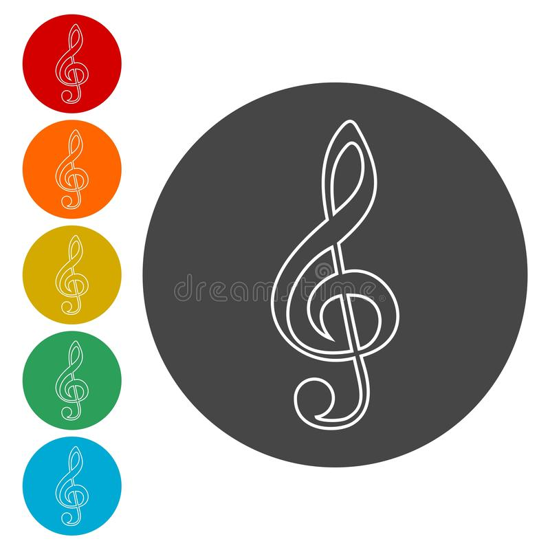 Treble Clef icon. Vector icon royalty free illustration