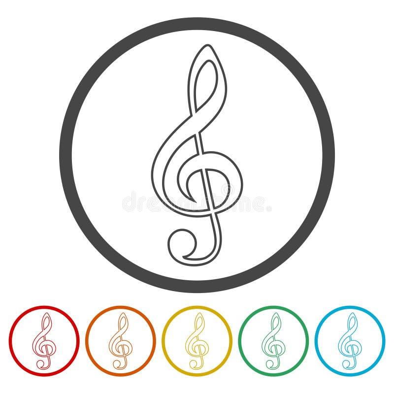 Treble Clef icon. Vector icon vector illustration