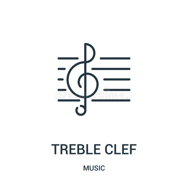 treble clef icon vector from music collection. Thin line treble clef outline icon vector illustration stock illustration