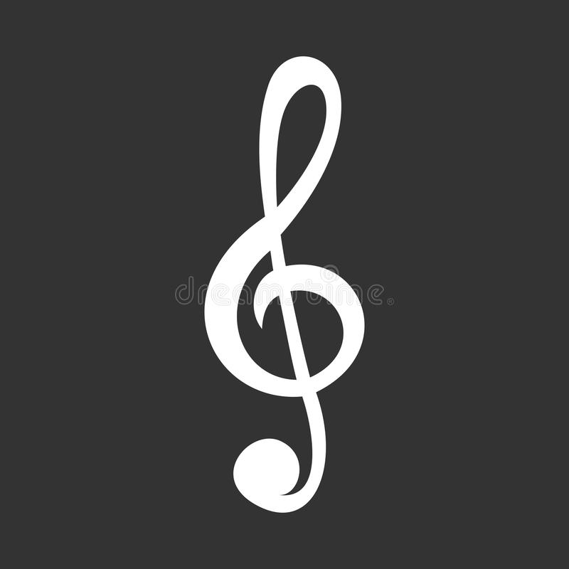 Treble clef icon. White treble clef vector icon isolated on grey stock illustration