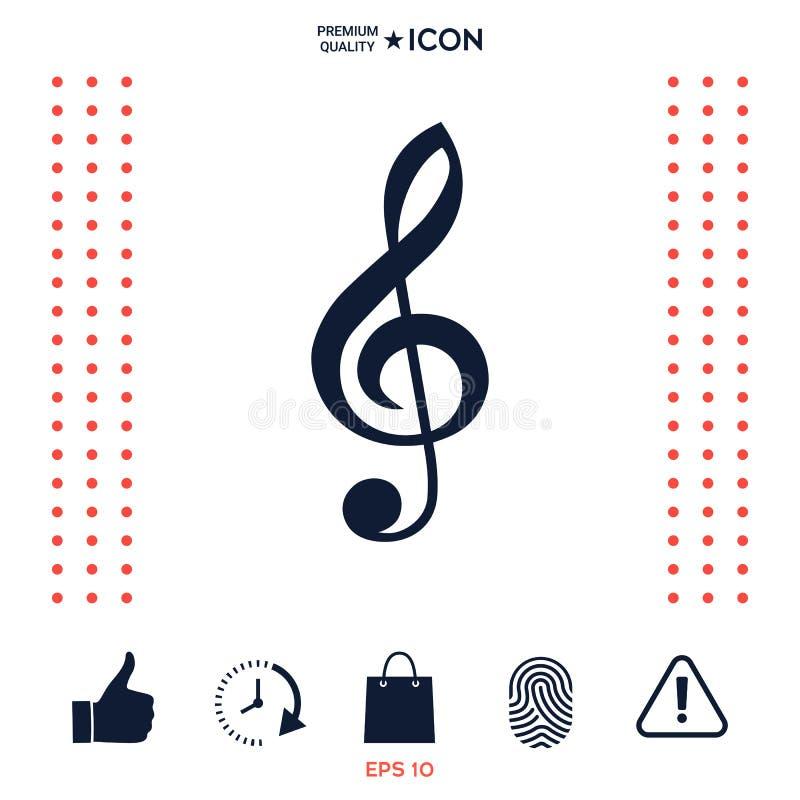 Treble clef ikona ilustracja wektor