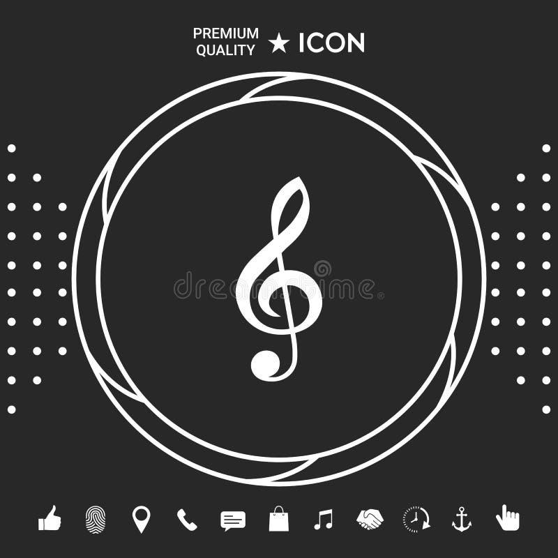 Treble clef ikona Graficzni elementy dla twój designt ilustracji