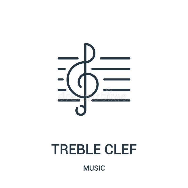 treble clef ikony wektor od muzycznej kolekcji Cienka kreskowa treble clef konturu ikony wektoru ilustracja ilustracji