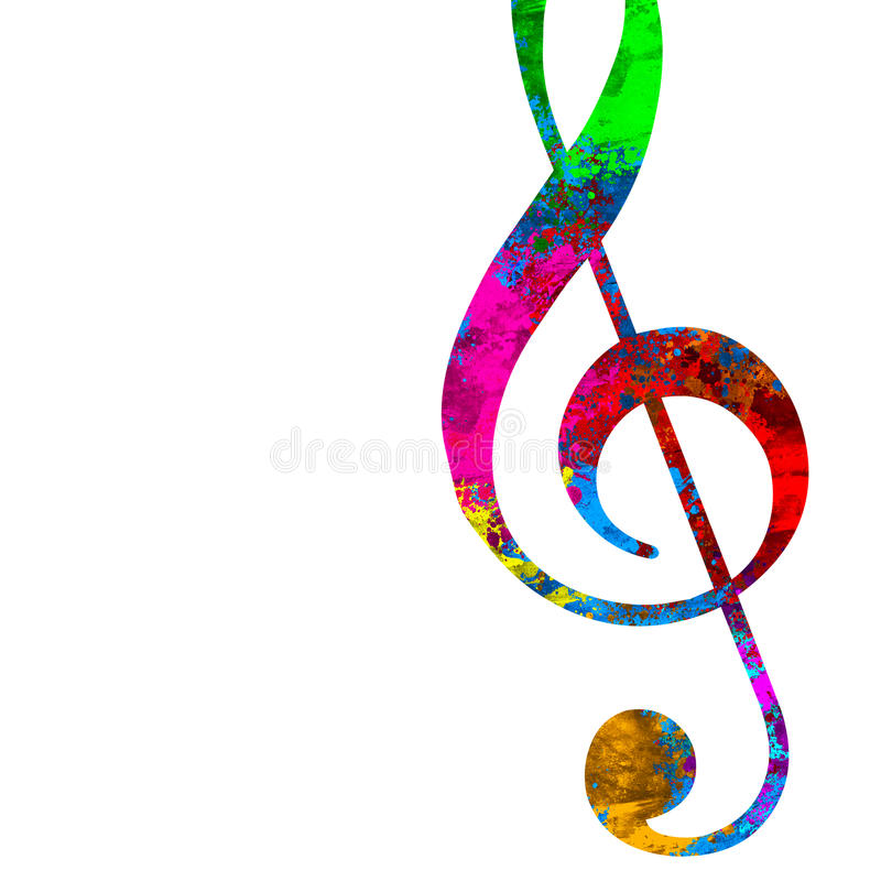 Treble clef. An illustration of a colorful treble clef on a white background vector illustration
