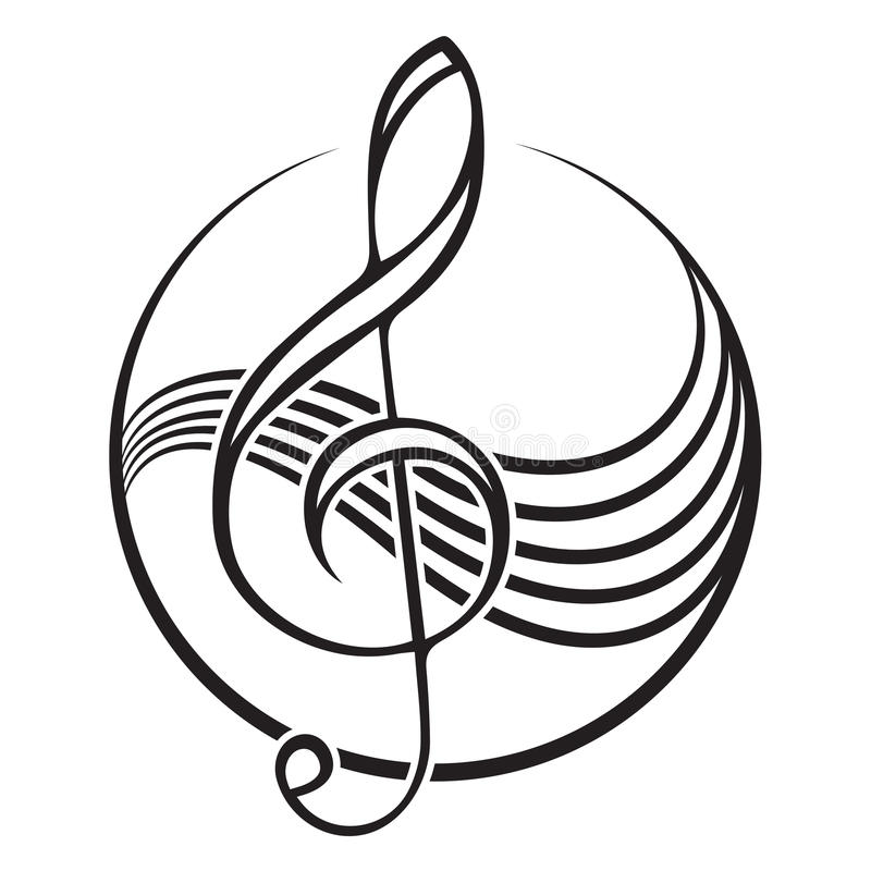 Treble clef logo. Logo of a black treble clef vector illustration