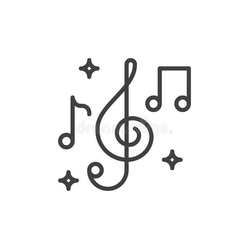 Treble clef and music notes line icon, outline vector sign, linear style pictogram isolated on white. Music symbol, logo illustration. Editable stroke. Pixel vector illustration