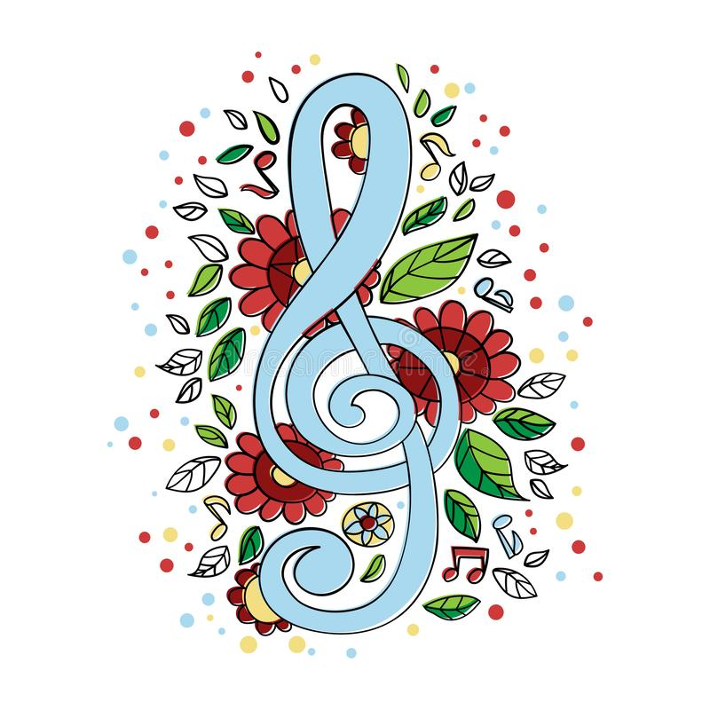 TREBLE CLEF Musical Concert Symbol Vector Illustration Set stock illustration