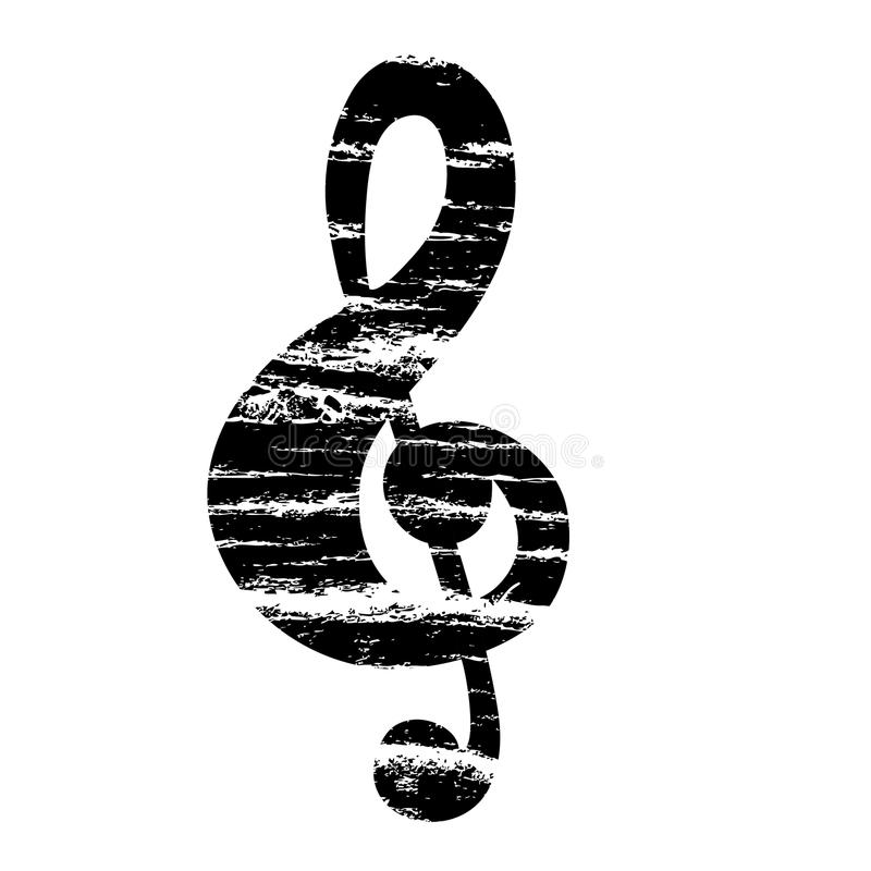 Treble clef. Musical note in grunge vector illustration