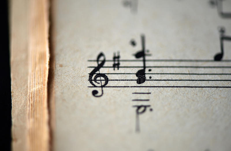 Treble clef and musical notes in the old musical notebook. Close up royalty free stock photos