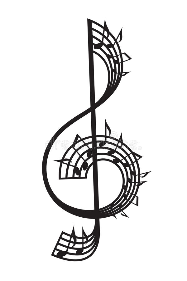 Treble clef and notes. Monochrome illustration of treble clef and notes vector illustration