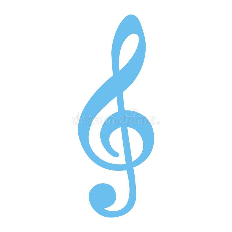 Treble Clef płaska ikona, muzyka i instrument, royalty ilustracja