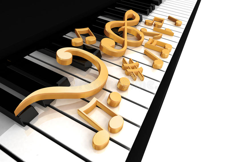 Treble clef is on the piano stock illustration