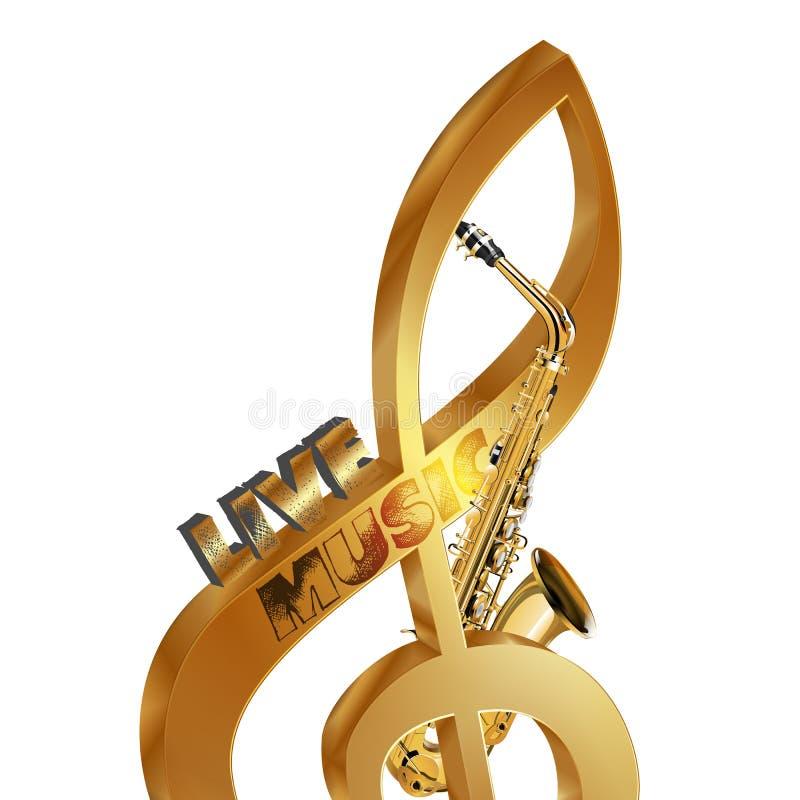 Treble clef saksofonu muzyka na żywo obraz royalty free