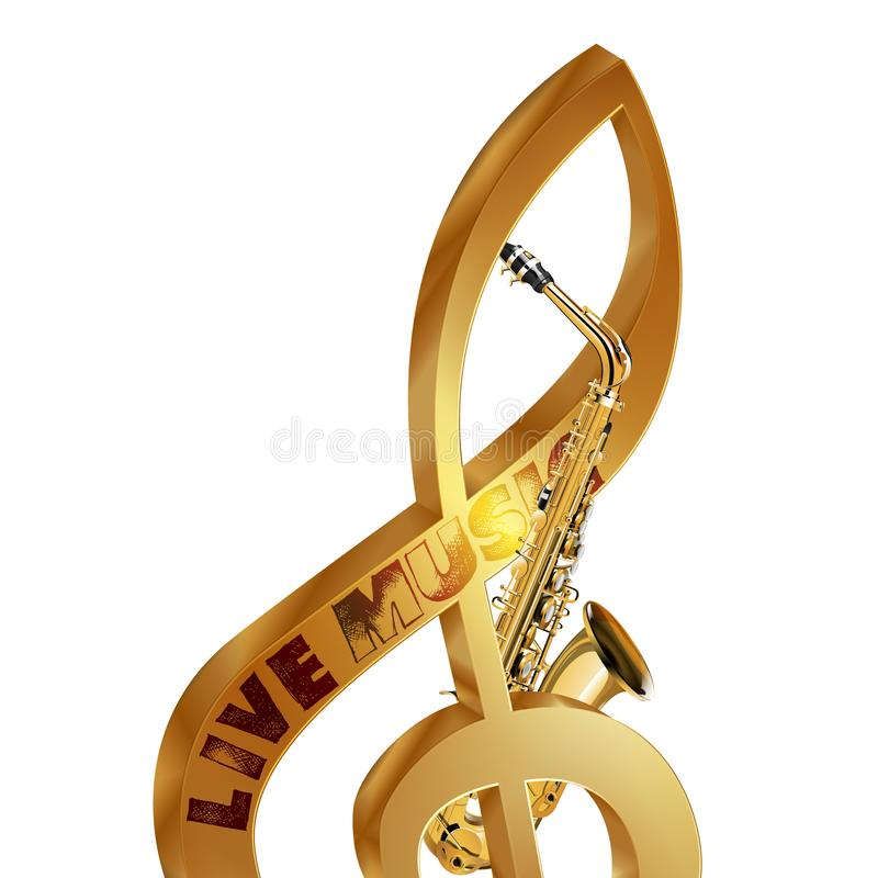 Treble clef saksofonu muzyka na żywo zdjęcie stock